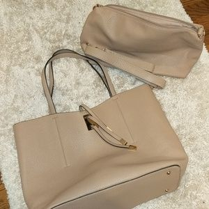 Handbags - Beige Tote with bonus evening bag